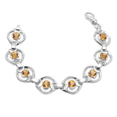 Fire Citrine bracelet in solid cast Germania sterling silver