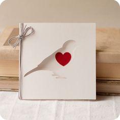 Loving Bird - papercut valentine card - 4x4 inches. $6.00, via Etsy.