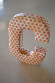 Fabric Letter / Initial/ Name Wall Hanging in Pink - Letter C