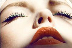 makeup, orange lips & green liner