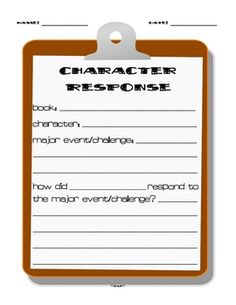 This is a response sheet that you can use as you teach recognizing how a character responds to a major event or challenge. You can make this into a...