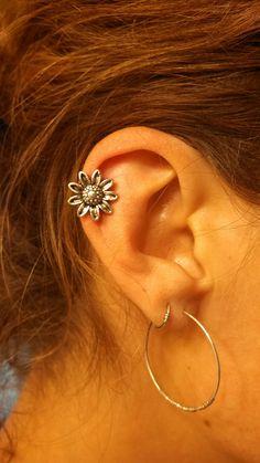 Sunflower Cartliage Earring Tragus Helix Piercing by MidnightsMojo