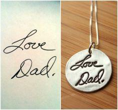 custom handwrit, dad, gift, idea, style, artwork necklac, necklaces, handwriting, jewelri