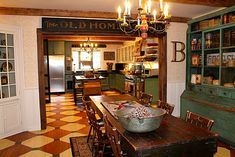 Renita's kitchen  Hooked on houses Love the feeling...floor painting...maybe for our walls?
