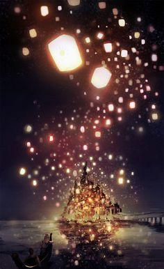 disney movies, castl, dream, night lights, chinese lanterns, art, tangl, lantern festival, rapunzel