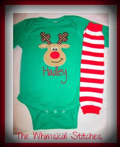 Baby Boy Christmas Onesie Personalized with Legwarmers Christmas 2012 Rudolph Baby Boy Onsie Christmas Photo Prop My 1st Christmas 2012. $28.00, via Etsy.