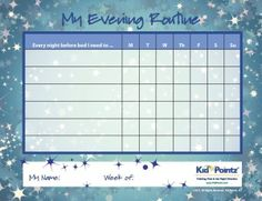 bedtime points and rewards chart Daily Routine Charts For Kids Collection (25 Pages)