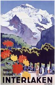 a vintage tourism-ad for Interlaken/Switzerland with the famous Jungfrau in the background