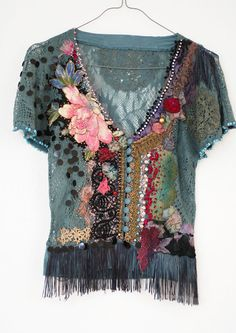 hand embroidered and beaded lacy knit top with antique textiles. bohemian, romantic, wearable art.