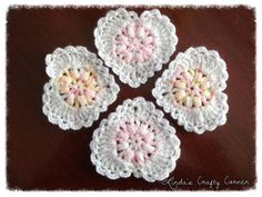 ♥Sweet Lacy Hearts♥ Cute little hearts to use up those tiny scraps of yarn that you really don't want to keep but haven't the ♥ to throw away.