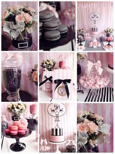 Chic Party Parisian themed black and pink <3  but for the baby shower instead of black use a light grey