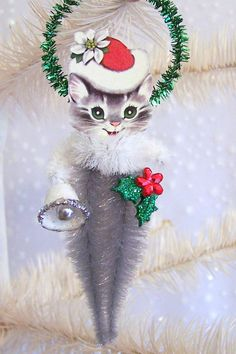 Retro Kitten Christmas Ornament Feather Tree