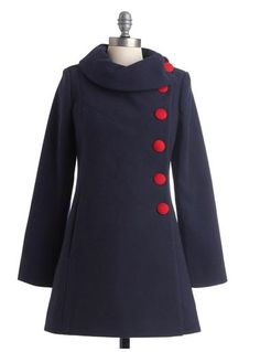 Again love the uniqueness, and red buttons are a easy adjustment!!! could see lots of skirts and plaids paired with this Adorable navy blue coat with red buttons