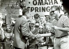 Husker coach Tom Osborne introduces Trev Alberts at halftime of the 1994 NU spring game. Alberts led children in a drug-free pledge. Alberts, an All-American linebacker who played at NU from 1990 to 1993, is now the athletic director at the University of Nebraska at Omaha. THE WORLD-HERALD