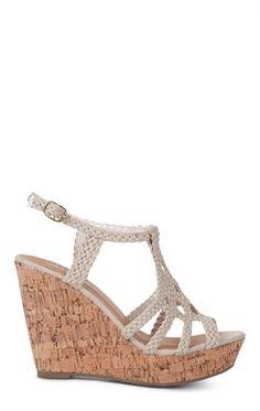 Deb Shops Platform #Wedge with Cork Heel and Braided Upper Straps $36.90