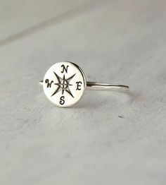 Sterling Silver Compass Ring.