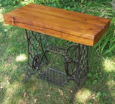 I'm obsessed with this idea.... where can I find a vintage sewing machine base???