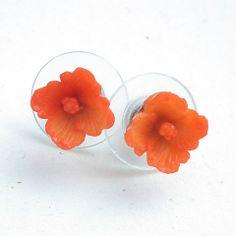 Sweet tiny orange flower earrings. $8.00 Handmade ID Badge Lanyards, Badge Reels, Eyeglass Chains | Plum Beadacious