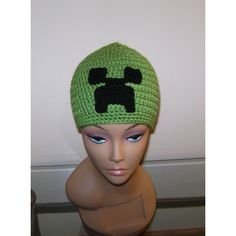 Minecraft Creeper inspired crochet hat minecraft beanie by TwoLittleAngelsEtsy found on Polyvore. http://www.etsy.com/listing/97743529/minecraft-creeper-inspired-crochet-hat#