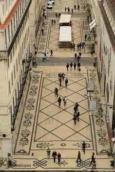 Beautiful Portuguese cobblestone pavement (Calçada Portuguesa) - Rua Augusta, Lisbon, Lisboa, Portugal cobbleston pavement, portuguese, portugues sight, portugues cobbleston, calçada portuguesa, rua augusta, place, lisboa portugal, lisbon portugal travel