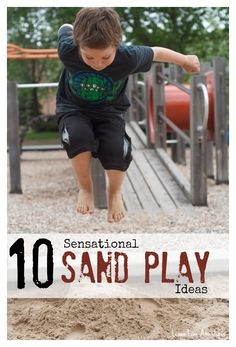 10 Simple sand play ideas for sensory learning. Great ideas to try today! Inside, outside, and more. Each activity is labeled with Sensory System #sensoryplay