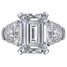 Fancy - Engagement Ring - Large Emerald cut Diamond Engagement Ring with Shield cut side Diamonds