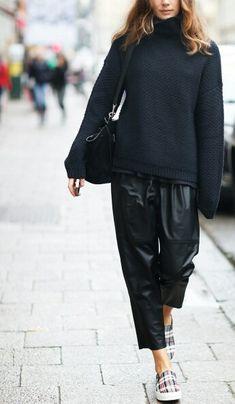 carolin, fashion, plaid, street styles, blog, sneakers, leather pants, black, celin shoe