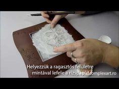 ▶ Platou de Craciun - Decoupage cu hartie de orez, pasta glitter prin sablon - YouTube