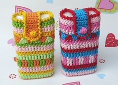 These cute holders are for tissues but you could use them for a multitude of things! mobile phones, multitud, accessori, bag, cell phone cases, card holders, mobil phone, phone phone, crochet for cell phone holder