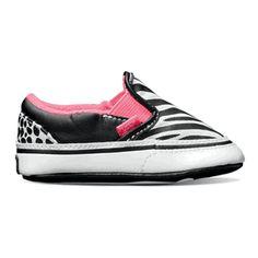 Vans Slip On Animal Multi Baby Girl Crib Shoes $25