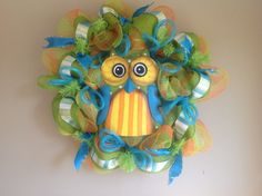Deco Mesh Blue Owl Wreath by EnchantingWreath on Etsy, $80.00