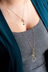Cubic Zirconia and Brushed Vermeil Organic Hoops Long Necklace