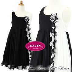 Black White Dual Tone Ruffle Pleated Dress    Now at $87 and FREE International Shipping.    #girls, #party, #dress, #dual, #tone, #black, #white, #kids, #formal, #wear