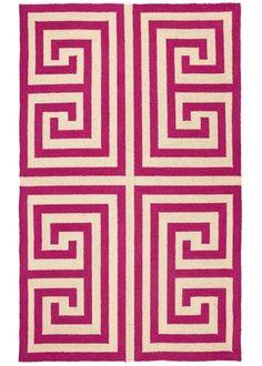 Trina Turk Rug Hook Greek Key Pink | Layla Grayce