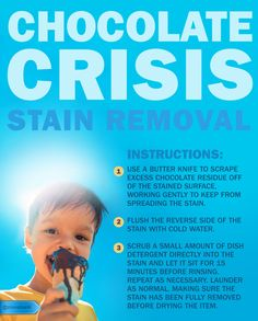 Undo stubborn chocolate stains with this easy technique. #SaveMoney #HouseholdTips #CleaningTips #ChocolateStainRemedy #LaundryTrick