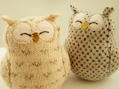 owls from leftover sweater pieces project, sew, idea, stuff, crafti, recycled sweaters, diy, owls, thing