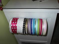 Paper towel holder, roll of paper towels, head band storage.  Great!
