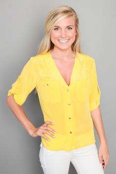 too cute, pocket top in canary yellow from Red Dress Boutique