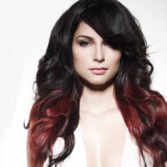 red, black, platinum color blocked hair | Red And Black Layered Hair Color black red block coloring