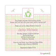 Frog princess pink and green plaid baby shower invitation From Little Angel Announcements