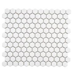 Merola Tile, Metro Hex Glossy White 10-1/4 in.x 11-3/4 in. x 5 mm Porcelain Mosaic Floor and Wall Tile (8.54 sq.ft./case), FXLMHW / Home Depot / $5.95 / sq. ft.