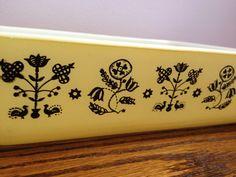 Vintage Pyrex Promo Yellow & Black Embroidery