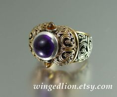 THE EMPRESS a statement ring in 14K gold and silver with Amethyst and Citrine