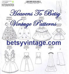 """Free Printable Doll Clothes Patterns 