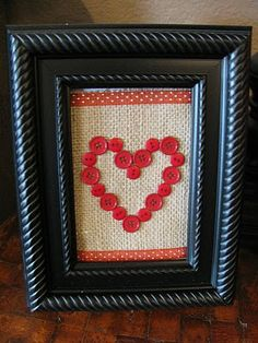 Burlap, buttons, and cheap frame make easy DIY Valentine's Day art.