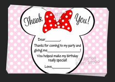 Custom Minnie Mouse Thank You Notes Birthday by TheInvitationPeeps, $10.00