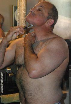 very tall gay man bear shaving bathroom