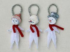 Snowman Christmas Ornaments - Handmade Holiday Ornaments - Under 25 Chenille Ornaments.