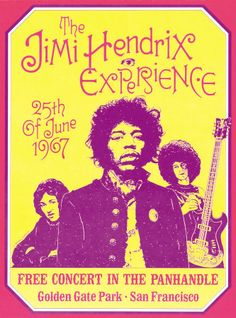 zoom     view in room  Jimi Hendrix, Free Concert in San Francisco, 1967  Art Print  by Dennis Loren