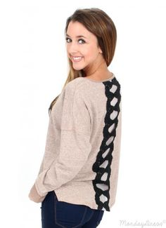 Cool Kids Mocha Sweatshirt With Back Lace Detail
